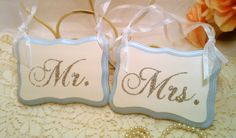Bling Wedding Signs Blue Wedding Decorations Mr. & Mrs. Signs Silver Wedding Fairytale Weddings, Beach Weddings, Modern Weddings