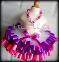 SEWN, White Tutu Trimmed in Purple and Bubblegum Pink Satin. Birthday Tutu, Pageant Tutu, Toddler Tutu, Tutu Costume, Princess Tutu