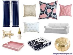 pink navy and gold living room - Google Search