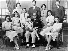 The Kennedy family.  (The family of Joe and Rose before World War II when they were all still living:  Joe, Jr., Jack, Rosemary, Kathleen, Eunice, Pat, Bobby, Jean, and Teddy)