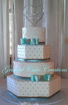 Country Chic Tiffany Blue and White Wedding Cake with Burlap and Bling