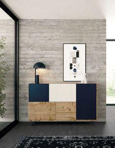 Para rincones con carácter se ofrece este nuevo recibidor de la colección One Plus, con acabados de sus frentes en azul mate, arena mate, roble nudoso, sus tapas, lados y la tarima en roble nudoso y las patas en azul mate, da un estilo de personalidad a tu espaci Cabinet Furniture, Design Furniture, Dining Room Furniture, Modern Furniture, Bauhaus Furniture, Tv Wand, Modern Cabinets, Living Room Tv, Furniture Inspiration