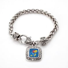 University of Kansas Classic Braided Bracelet - a sterling silver bracelet