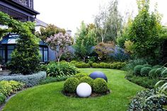 Curved garden beds + mass plantings of rich green tones to create a soft yet structural outdoor space