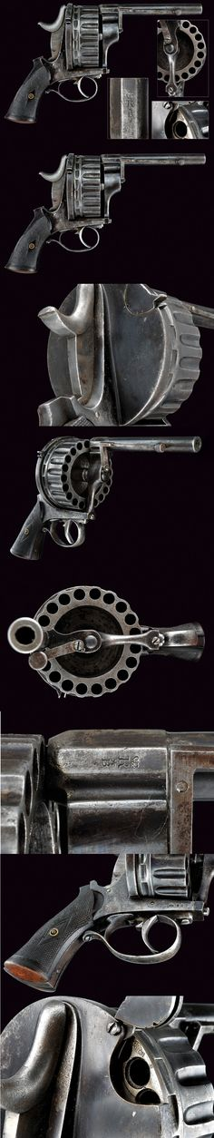 A very scarce twenty-shot centerfire revolver.  provenance:	 	Europe dating:	 	 third quarter of the 19th Century
