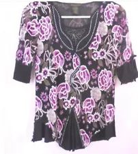 SANDY'S GINGHAM COUNTRY | eBay Stores Pink Tops, Black Tops, Floral Tops, Ebay Shopping, Polyester Spandex, Florals, Pink Ladies, Long Sleeve Shirts, Mauve
