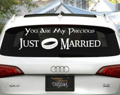 Lord of the Rings Just Married Wedding Vinyl Window Cling Decal this couple has a good sense of humor