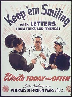 World War 2 Poster - Keep'em Smiling with Letters, Ladies Auxiliary VFW