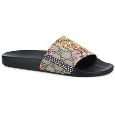 2e22ec5b361 Gucci Pursuit Tiger GG Supreme Canvas Slides Sandals ( 290) ❤ liked on  Polyvore featuring shoes