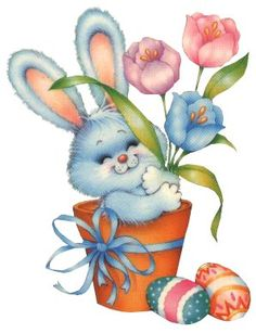 Easter bunny with spring flowers & Easter eggs