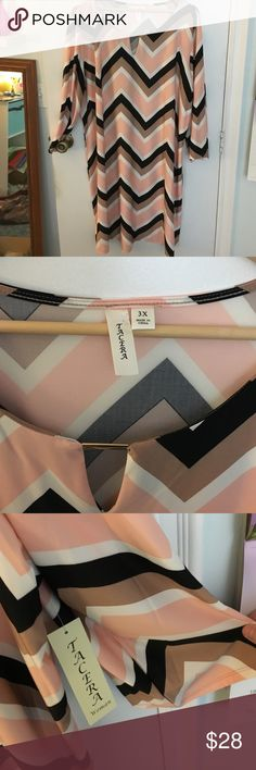 NWT Tacera chevron midi dress 3X New! 💥 NWT Tacera chevron midi dress 3X. Beautiful knee length dress in pretty chevron pattern of pale salmon pink, black, white and taupe. Neckline has gold bar accent. Material is 95/5 silky poly spandex. Fab with Tights and boots. Retail $59! Tacera Dresses Midi
