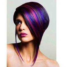 Beautiful blue, purple and fuchsia highlights in black hair!!!  Gorgeous!!!