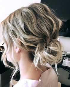 Low Messy Wavy Bun for Shorter Hair