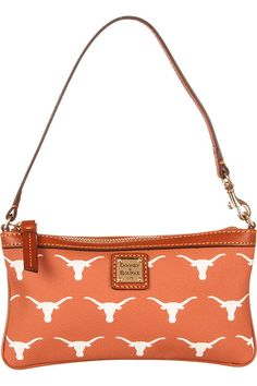 Our favorite purse for Texas game days! This burnt orange wristlet is perfect for your phone & wallet - be sure to get your Longhorn Dooney & Bourke now! College Games, College Game Days, Ut Longhorns, Hook Em Horns, University Of Texas, Gold Pendant Necklace, Cat Collars, Burnt Orange, Dooney Bourke