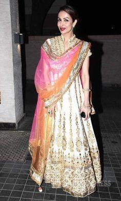 Malaika Arora Khan was elegant in white embroidered floor length anarkali with colourful dupatt