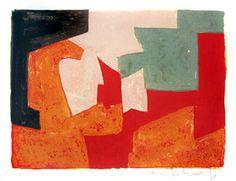 Poliakoff Serge : Lithographie originale : Composition orange, noire ...
