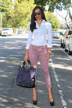 Printed Pants & Stripe Shirt via Style de la Creme