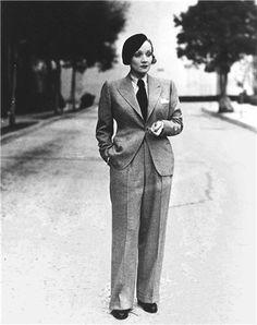 Marlene Dietrich in Anderson & Sheppard of Savile Row.