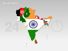 PowerPoint Map of South Asian Countries