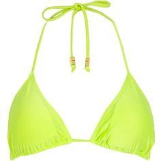 Lime triangle bikini top