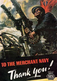 WB6 Vintage WW2 Merchant Navy Thank You British WWII War Poster A4