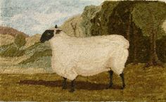 Shropshire Ewe Rug Hooking Pattern by TwoOldCrowsNJ on Etsy Sheep Rug, Cow Rug, Rug Inspiration, Rug Hooking Patterns, Hand Hooked Rugs, Antique Paint, Braided Rugs, Penny Rugs, Wool Applique