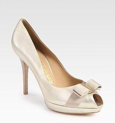ferragamo patent leather shoes, ferragamo pumps sale discount $243, ferragamo outlet nj, Salvatore Ferragamo Metallic Patent Leather Peep Toe Bow Pumps