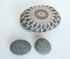 Crochet lace stone // rustic beach wedding decor by TableTopJewels, $45.00