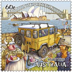 Sydney harbour and backpackers on our bright stamp