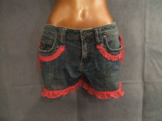 Ladies Denim Motorcycle Shorts Chaps w/ pink lace by DeluxeAGoGo, $30.00