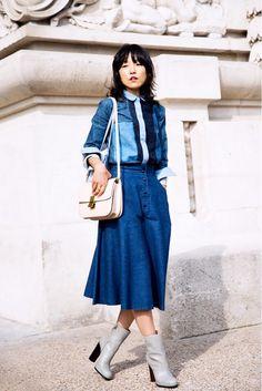 #denim #midi #skirt #streetstyle