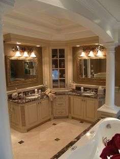 Master Bathroom Dark Cabinets dark emperador marble, dark cabinets & travertine floors