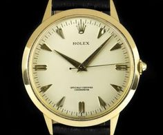 Rolex Chronometer Vintage Gents 18k Yellow Gold Silver Dagger Dial 8940