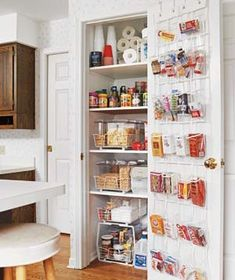 Some small apartments don't have separate kitchens, but rather small kitchenettes in the corner of the living or dining room. Your typical upper cabinets in this situation can sometimes be an eyesore. So how to store your dishes and pantry items? You might consider turning a coat closet into a pantry...