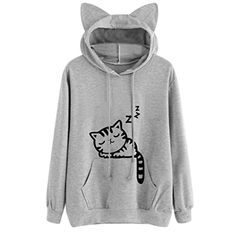 Kollmert Fashion Womens Cat Long Sleeve Pocket Hoodie Sweatshirt Pullover  Tops Blouse Printed Hoodies, Pink bf9e7384fc