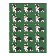 Smiling Tricolor Corgi Fleece Blanket