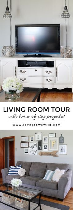 Come take a tour of this newly decorated living room with a subtle coastal vibe and TONS of DIY projects! | LoveGrowsWild.com