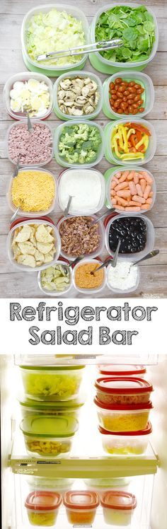 Refrigerator Hacks to Help You Eat More Fruits and Veggies! I love this DIY Refrigerator Salad Bar.