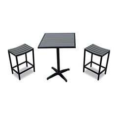 Outdoor Décor  3-Piece Modern Balcony Bistro Set in Black (Set Includes Two 18 Diameter x 26 H Chairs and One 27 Diameter x 36 H Table -- This is an Amazon Associate's Pin. Item can be found on the website by clicking the VISIT button.