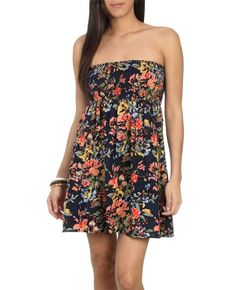 Smocked Floral Tube Dress - Teen Clothing by Wet Seal