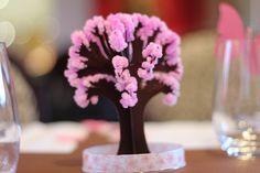 Décorations de table pour les 40 ans de ma soeur. Thème papillons et fleurs de cerisiers Arbre magique Moulin Roty