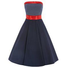 Šaty Lindy Bop Sally Navy Red Polka Retro šaty ve stylu 50. let. Nádherné šaty, ve kterých zazáříte kamkoli v nich vyrazíte. Nádherné a jedinečné šaty vhodné na společenské události jako jsou svatby, večírky, zahradní párty, stejně tak jako úžasné letní šaty. Tmavě modrá barva s živůtkem zdobeným malým bílým puntíkem. Šaty mají všitý červený saténový pásek a lem kolem výstřihu, součástí je také červená širší stuha na uvázání do pasu.