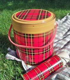 "1950's Red And Black Tartan Plaid Picnic Cooler - Skotch Kooler Brand ""tailgate…"