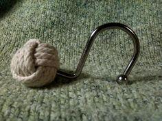 SEALED Nautical Shower Curtain Hooks Set of 12 - Chrome, Brushed Silver or Bronze Finish found on esty monkey fist knot