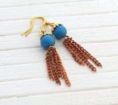 Turquoise Chain Earrings ..  chain earrings long by beadishdelight