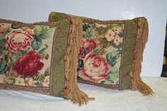 Vintage Pair of Handcrafted Cabbage Rose Needlepoint Pillows with Trim | From a unique collection of antique and modern pillows and throws at https://www.1stdibs.com/furniture/more-furniture-collectibles/pillows-throws/
