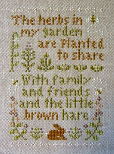 "Here is my latest finish, Little House Needlework's ""Herb Garden."" I stitched this on Lilac Belfast linen by Zweigart . Cross Stitch Samplers, Cross Stitching, Cross Stitch Embroidery, Cross Stitch Patterns, Couleur Chartreuse, Little House Needleworks, Little Brown, Needle And Thread, Herb Garden"