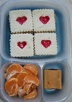 PB & Honey sandwiches today, cut with our Linzer cutter, triple berry Newtons and a clementine. I filled the hearts with Wilton Cookie Icing.