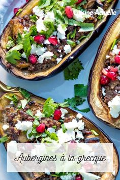 Découvrez vite cette recette. Desserts, Food, Eggplants, Cooking Recipes, Ground Lamb, Pomegranate Seeds, Greek Salad, Tailgate Desserts, Deserts