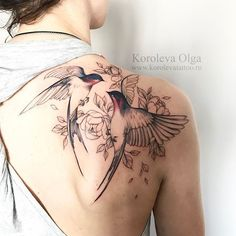 tattoo by Olga Koroleva, two dancing birds with delicate floral linework, pin: morganxwinter